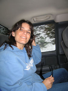 3/12/06 Renee inside Mojo's truck driving up Hwy 9 to play in the snow.