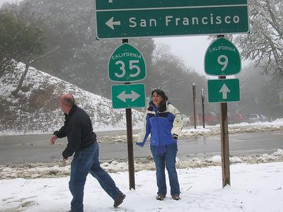 03/12/06 Hwy 9 at Hwy 35. James firing snowballs at cars. Renee.