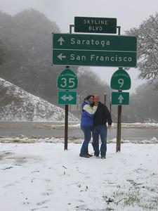 03/12/06 Hwy 9 at Hwy 35. Renee and James Gardner being all smoochy in our winter wonderland.