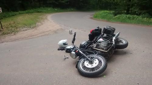 Crashed Triumph Bonneville