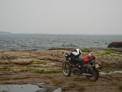 Triumph Bonneville at Pointe Abbaye on Lake Superior