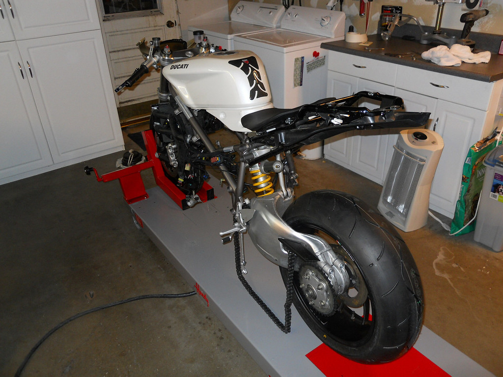 The first day the bike arrived in my garage - it was a stock 2010 Ducati 848 with cosmetic damage.  <br /> ... It is the first week in January, 2010.  The motor was pulled and the crank sent to Ben Fox for balancing as a single.