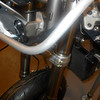"""Those stock triple clamps will get replaced by 30mm offset triple clams from - <a href=""""http://kyleusa.com"""">http://kyleusa.com</a>  -   I found the front axle to be out of round and impossible to push in and out by hand, turned it in the lathe and it is smooth as silk now."""