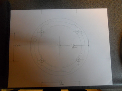 This is the layout of the bolt pattern after using a base gasket for a rough trace.  The bolt pattern is 100mm x 80mm.  This is for a 1098 cylinder which is being used on the 848 with a 104mm Pistal Piston from the Ducshop.
