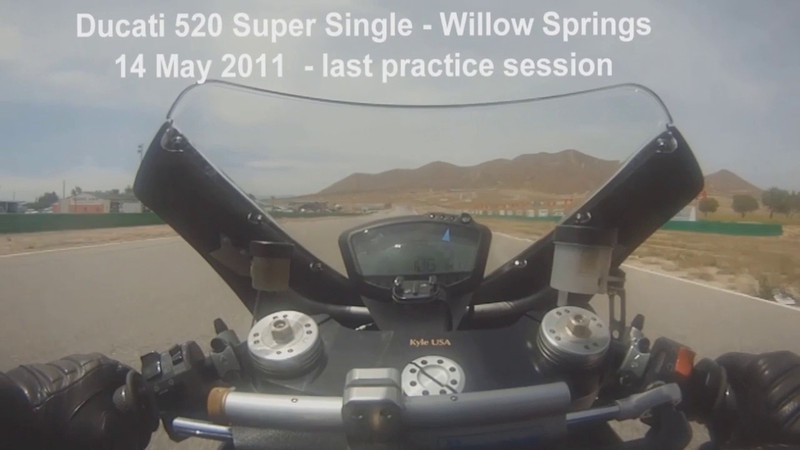 The last practice session for the day and the suspension was working well, although the winds are blowing at 30 mph across the straights.  The audio is full of vibration from the camera mount.  This video is to show a couple of laps and let you see how much fun this Super Single is to ride.
