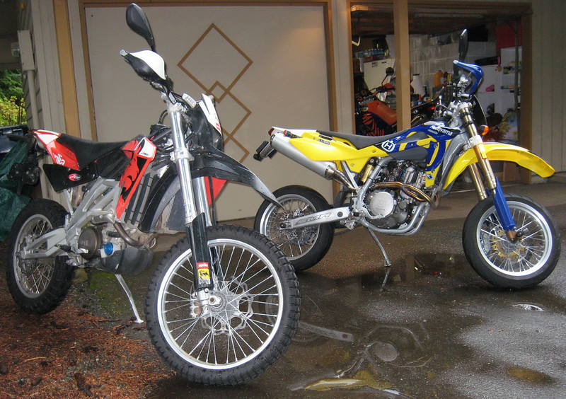 Two Euro bikes ready to ride and go see some Supermoto racing.