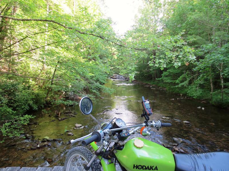 Wooden bridge over creek, near Winfield, TN