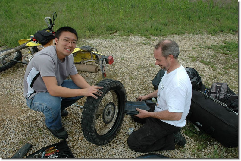 Turned out that SScratch got a flat and MadCow and TrainingWheels stopped to help.