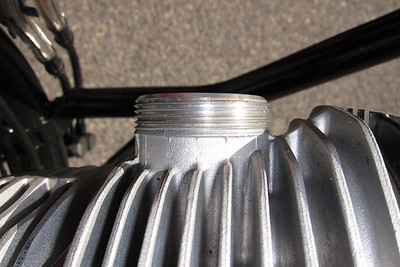 Anti-seize cleaned off right cylinder exhaust stub threads.
