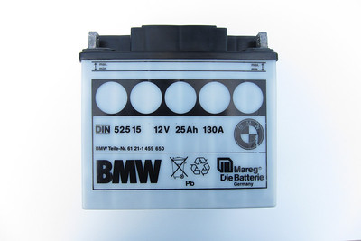BMW Mareg Battery - Front  Base dimensions: 124 mm x 180 mm (128 mm x 184 mm at cover) Height: 175 mm
