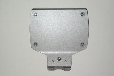 The rear of my Blue Sea Systems 5025 Fuse Block mounting plate.  M4 stainless steel screws and nylock locknuts were used to mount the fuse block. Nylon washers were used under the nylock locknuts.
