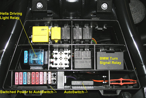 the bmw fuse & relay box with the hella ff50 driving light relay above the  row