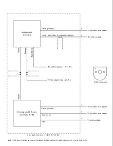 """The wiring schematic details with Molex connector part numbers. A clearer schematic in a Word document is available by e-mailing me at global_touring@hotmail.com. Insert """"BMW AutoSwitch"""" in the subject line to get my attention."""