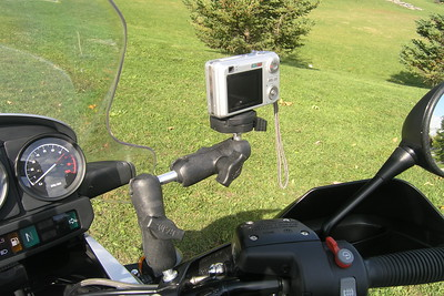 "For placement out from behind the OEM windscreen for video purposes, the following items were added to the standard set-up in the previous photo:  RAM-B-230 double ball RAP-B-201 3"" arm  Whatever camera is mounted, it must be kept as light as possible to keep shake to a minimum."