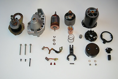 All the parts that make up a Valeo D6RA 75 starter motor.