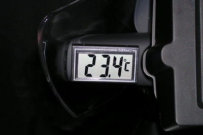 "A compact and affordable temperature display from Louis in Germany attached to the left windscreen pod of my R1150 GS Adventure using 3M Dual Lock tape. The battery was replaced after 3 years before it failed.  Size: 55 mm x 33 mm x 10 mm (approximately: 2 3/16"" x 1 5/16"" x 3/8"")  The Louis chain of motorcycle shops:  http://www.louis.de"