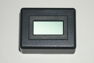 The Datel digital panel meter mounted into the BUD potting box.  Datel LCD digital panel meter (+8.0 to +50.0 Vdc), part number: 20LCD-1-DCM-C.  Available from Mouser Electronics, part number: 580-20LCD-1-DCM-C.