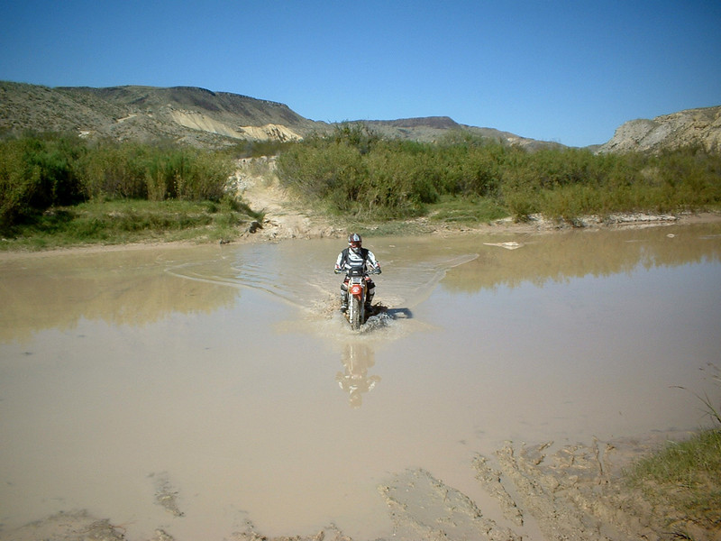 Sometimes Terlingua Creek is bone dry and silty, this time<br /> it had plenty of Rio Grande mud