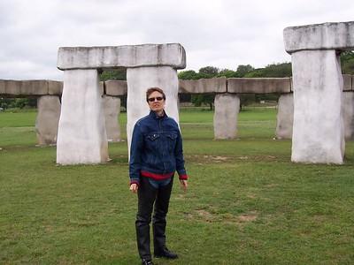 Caroline at Texas' Mini Stonehenge near Hunt, TX.