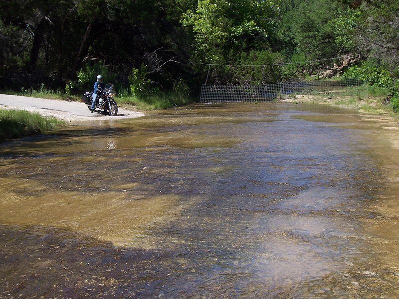 "Caroline prepares to cross ""Middle Creek"" near Henly, TX."