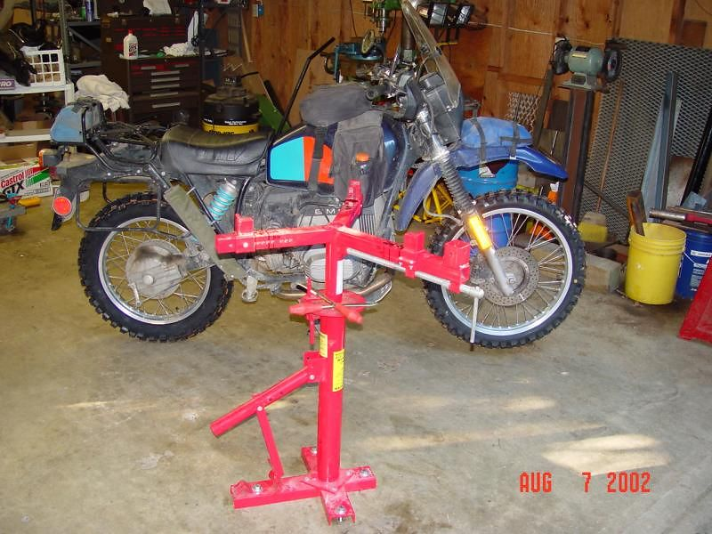 Harbor Freight tire changer, with motorcycle wheel adaptor