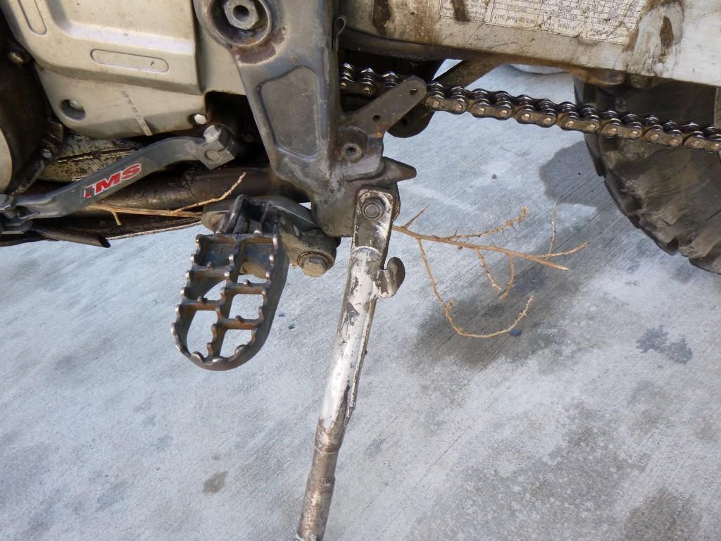 Tumbleweed caught under the bike
