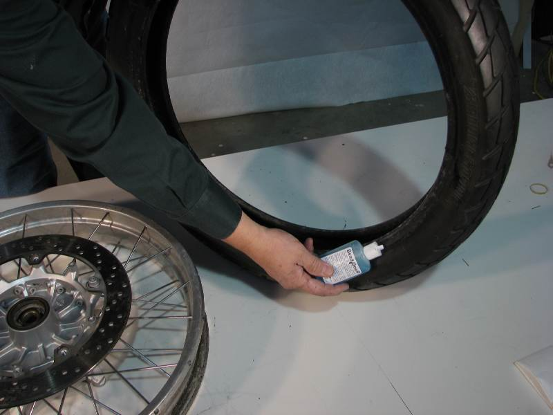 I lubricate the 1st side of the tire, the one that will go onto the rim 1st