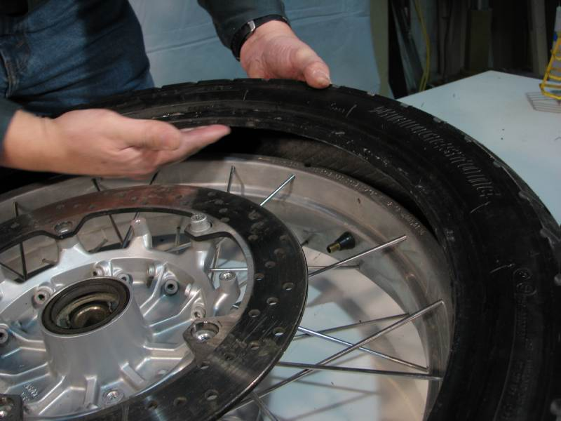 Then I rub the BeadGoop on the INSIDE of the tire bead   Don't get too enthusiastic with the BeadGoop; if you use Dyna Beads you don't want the BG to be running down into the tire