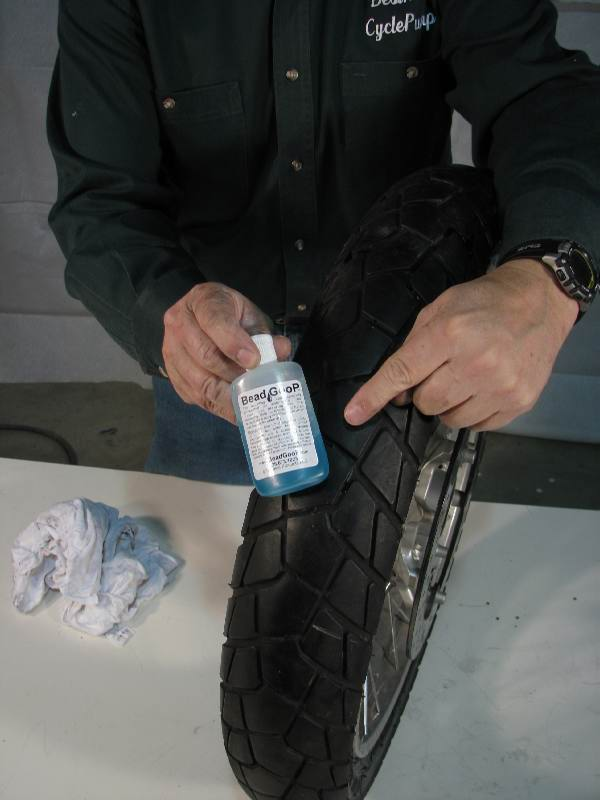 Wipe away any BeadGoop on the sidewall and tread.    If you don't clean the tire, it can cause an accident because the lube is slippery.