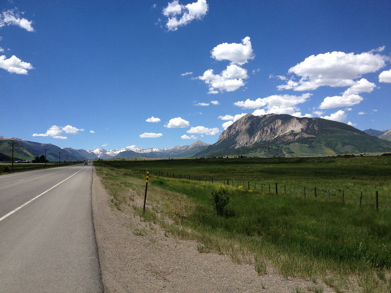 6/27 - In Gunnison, I turned north on CO135 and headed for Crested Butte....that's it on the right...the mountain at least.