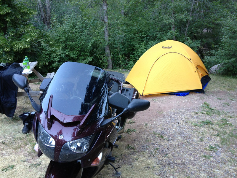 "6/26 - My campsite for the night, just south of Glenwood Springs, CO along CO82. If I remember right, this place was called ""The Hideaway"" and was pretty cheap."