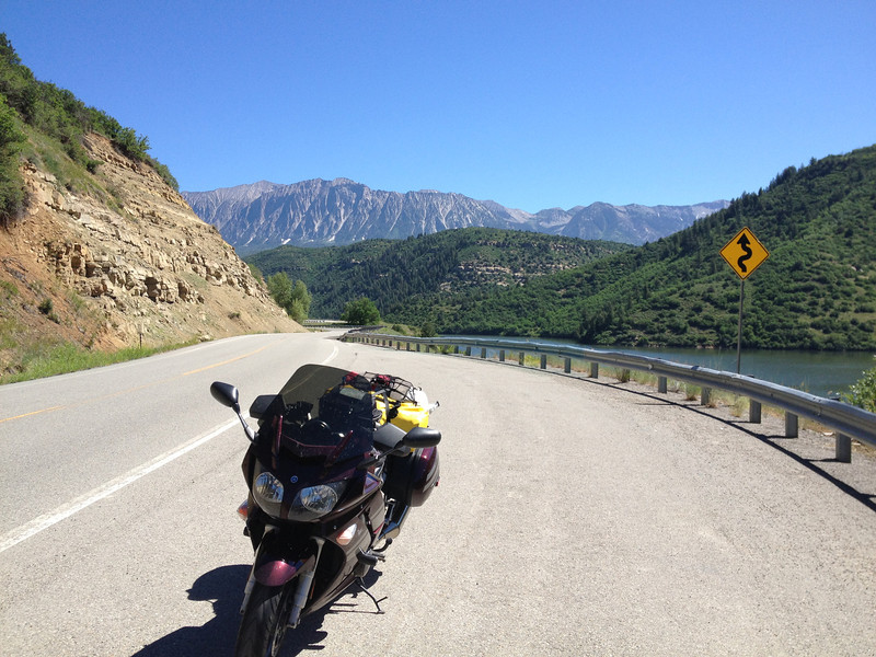 6/27 - Heading south on CO133, looking back north, in the midst of some terrific riding. This is Paonia Reservoir. My mini-goal was to hit Hotchkiss, CO and make a turn.