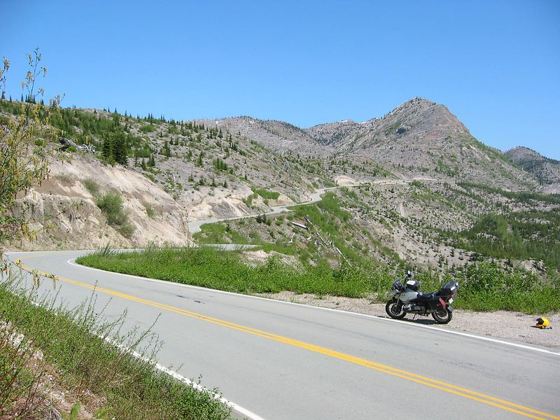 The road to Windy Ridge, Mt St Helens Nat'l Volcanic Monument. The destruction is still evident after more than 20 years. One of the best MC roads anywhere. I've just picked up my bike after failing to deploy the side stand.