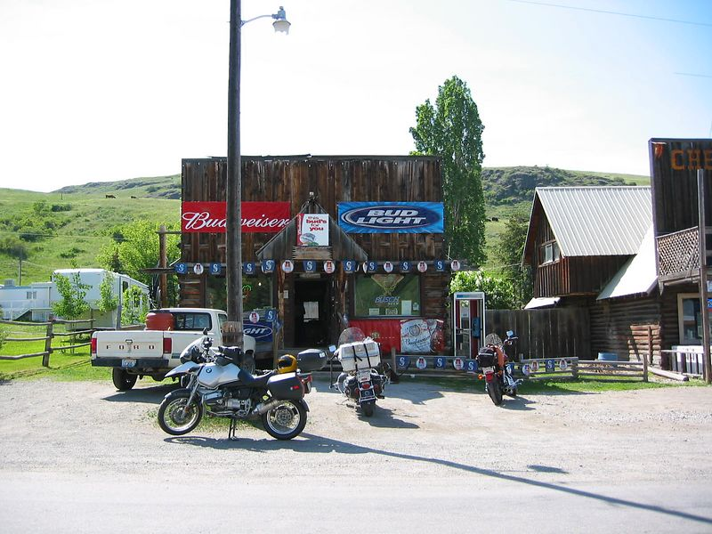 Chesaw Tavern in Chesaw, WA--bonus location. Great roads in this area. Note the dog crate on the Harley--the dog is to the right of the bike.