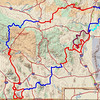 Here is a big picture map of the ride.  We rode the route counterclockwise from Albuquerque.  Red tracks are odd number days and blue are even.  Where there are parallel tracks, it means different subgroups took different routes.  Cyan tracks are places we planned to go but couldn't for various reasons.  Magenta tracks were options to the original plan.<br /> <br /> GPS tracks are stored on GPSXchange.com and dualsportmaps.com