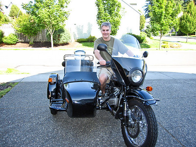 Jim on Tom's Ural