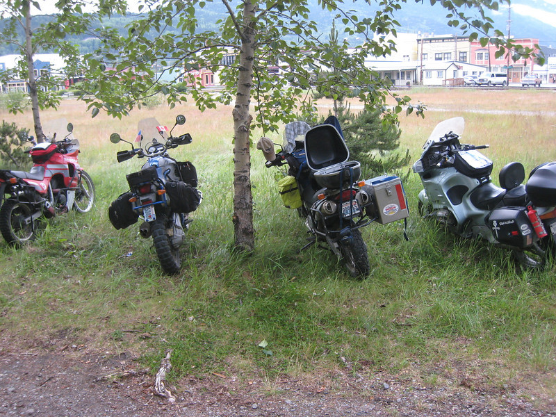 Allie's Transalp (hard to miss!), Tommy's HP2 (yikes!) and Pete's Dakar.  They definitely brought the right bikes for this trip.
