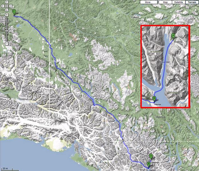 Day 8 - Skagway, AK to Tok, AK via Haines - 456 miles