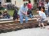 Fourth of July railroad tie pounding contest.  This little guy kept going until he couldn't lift the hammer anymore.  The whole crowd was cheering him on.
