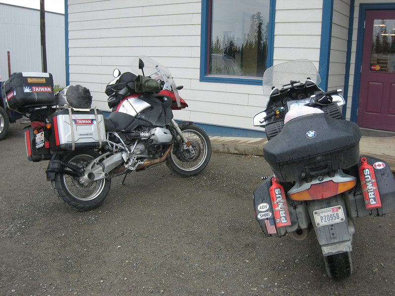 On the way out of Teslin the next morning I stopped to top off on petrol and caffeine.  Taiwan - interesting.