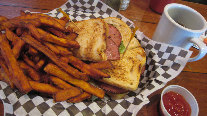 Canadian BLT, sweet potato fries and hot coffee.