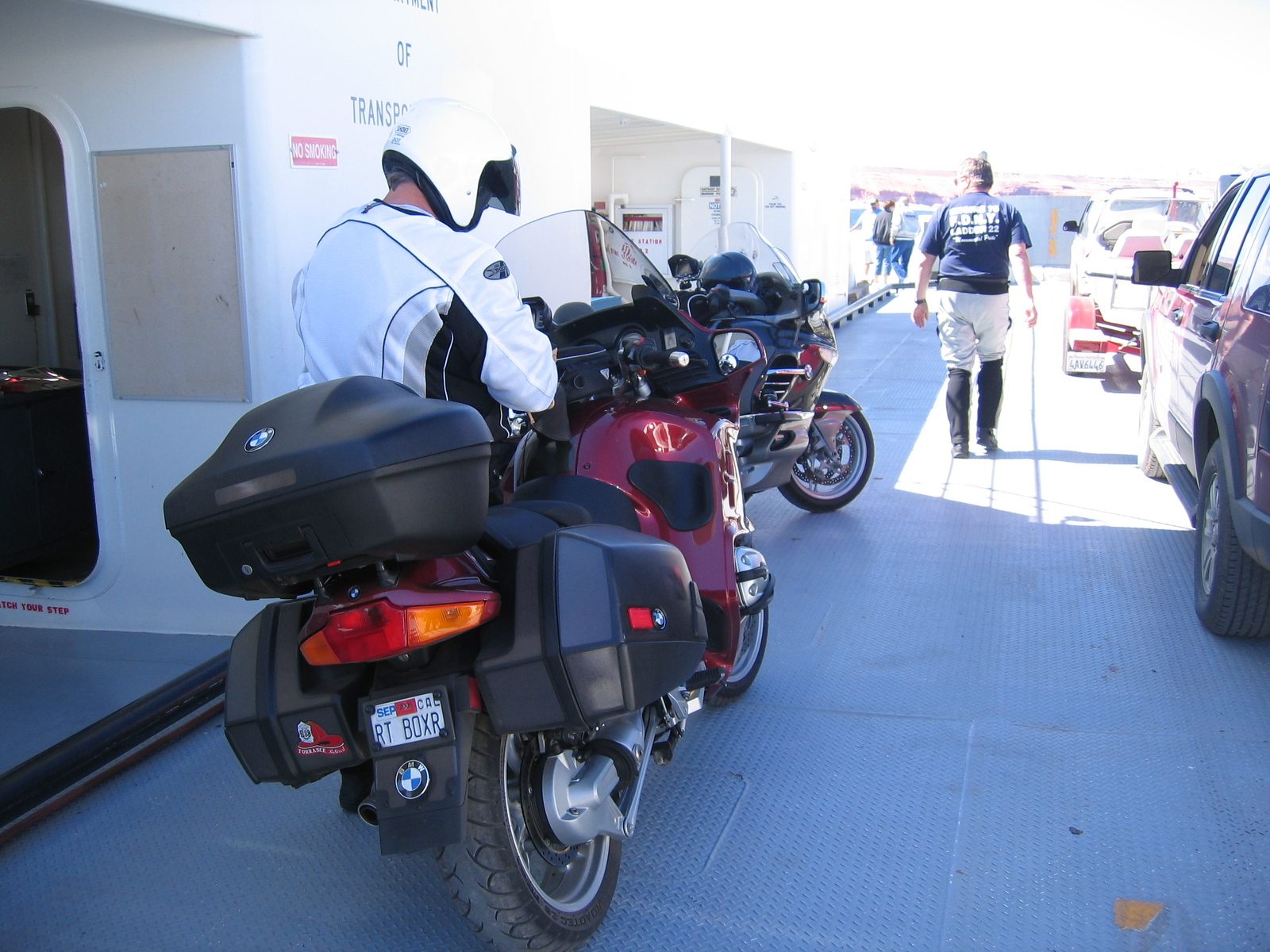 "Doug had ridden his LT like he rides his KTM for the last half mile or so, and had ""JUST"" gotten to the ferry in time to stop it from leaving without us... whew!"