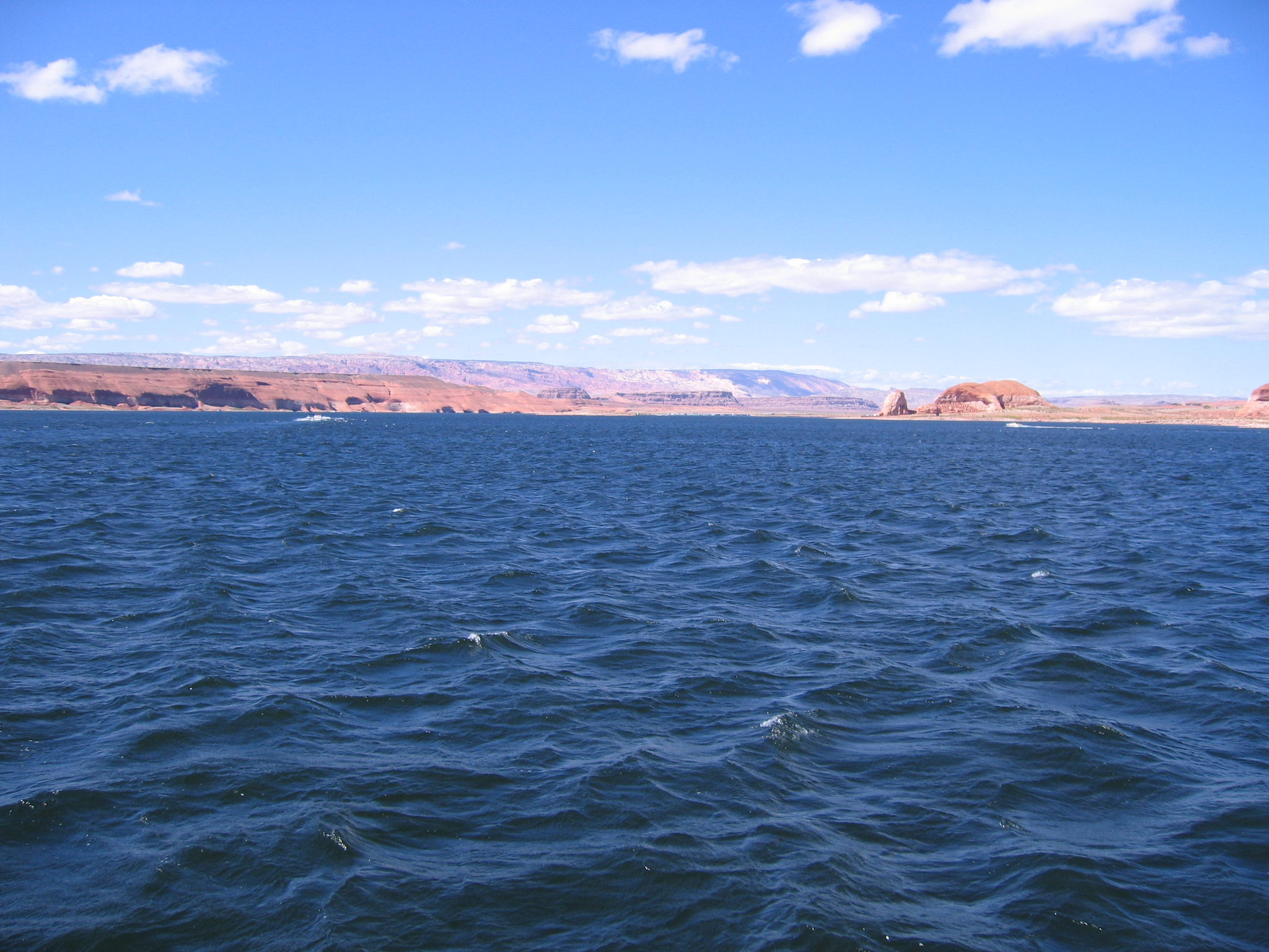 Steaming across Lake Powell.<br /> <br /> If we'd have missed the ferry it would have been a two hour wait... and we'd have been riding back to Torrey in the dark.