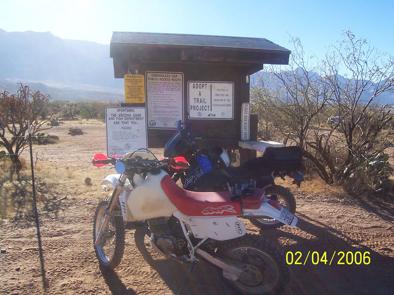 Craig and I arrived at the Charouleau Gap Kiosk at about 9:20AM.  Our plan was to ride the lower part of the Gap trail and then go over to the Tortolitas and see the petroglyphs.