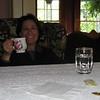 Carol enjoying a nice hot cup of tea.
