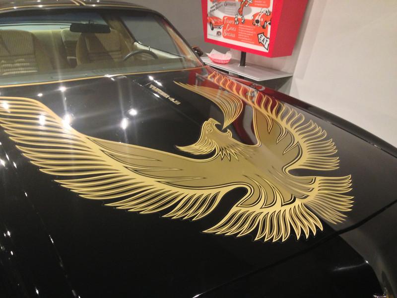 Hood of a Pontiac Firebird.
