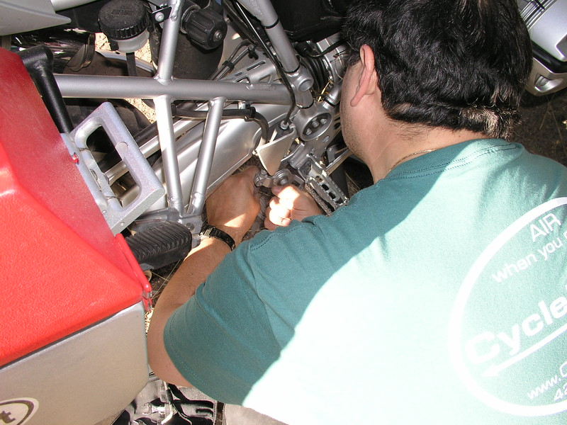David re-assembles the repaired brake lever