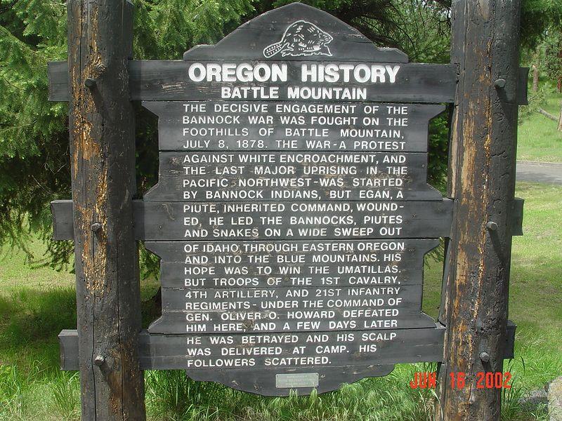 Marker at Battle Mountain Oregon