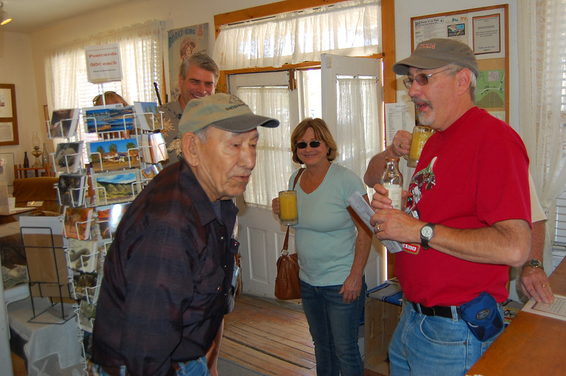 Glenn Morgan talking with George Ross, at the Shoshone, CA. museum, where George is a docent and on the Board of Directors. George was born in Shoshone in 1925 to a Paiute mother and a Hungarian father, and has lived in the Shoshone/Tecopa area for most of his life.