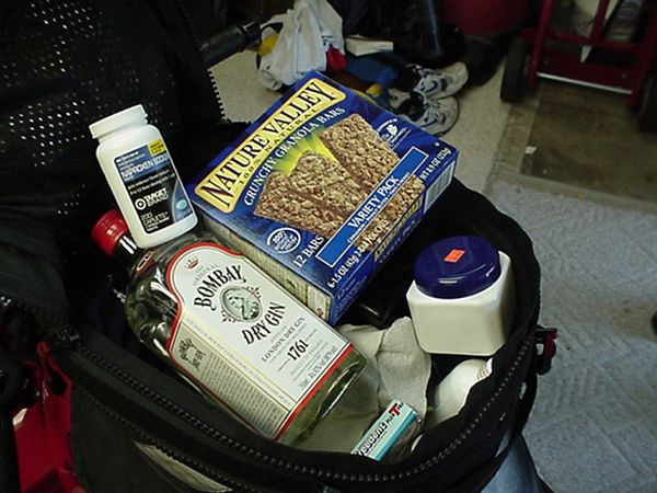 Vacation essentials, Gin, Granola, Aspirin and Gum